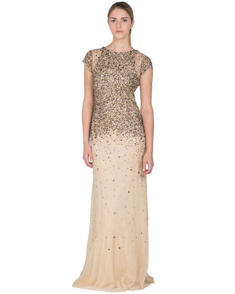 gold beaded gown badgley mischka beaded sequin ombre evening gown in