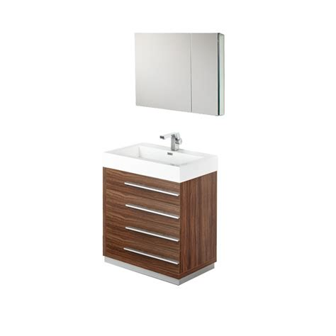 30 inch walnut modern bathroom vanity with medicine