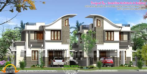 Bungalow Floorplans by Twin House Design Kerala Home Design And Floor Plans