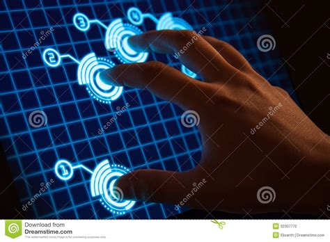 high tech touch screen display  futuristic int stock photo image  futuristic idea