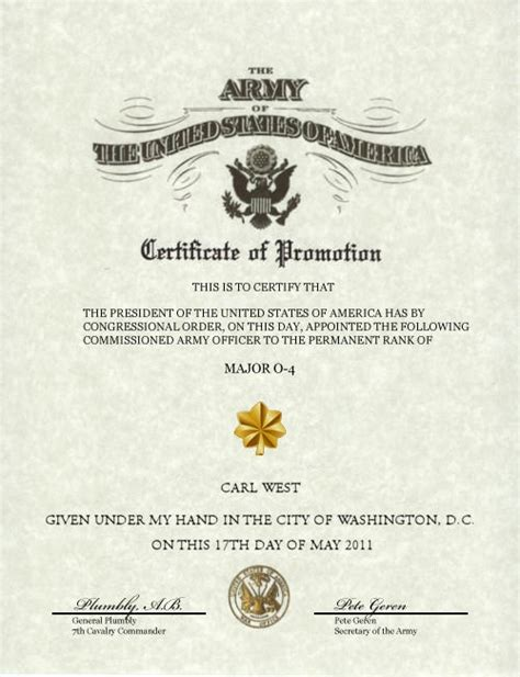 army promotion certificate template profile of chief warrant officer 5 west c 7th cavalry