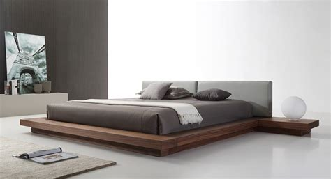 grey platform bed modrest opal modern walnut grey platform bed