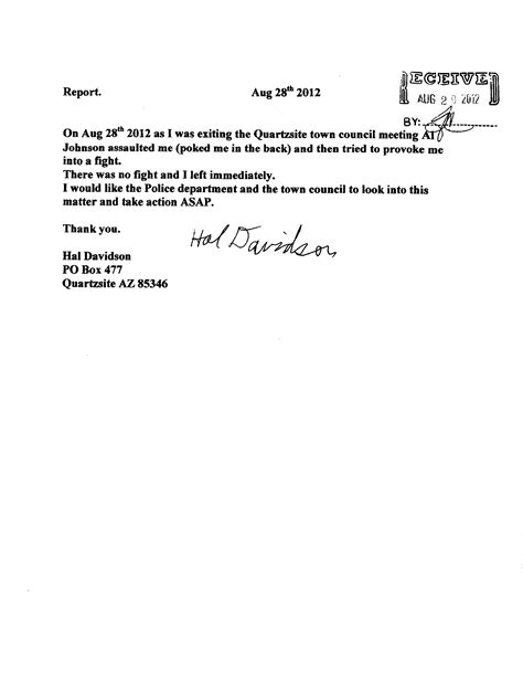 Complaint Letter Sle To Town Council August 171 2012 171 Qtown Us News
