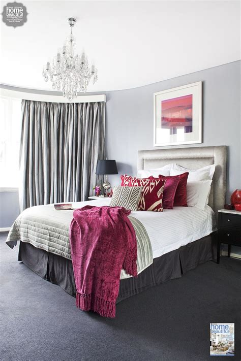 grey and burgundy bedroom rich burgundy touches add glamour to this sydney bedroom