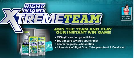 Espn Gift Card - right guard xtreme team instant win game win 500 gift card espn magazine more