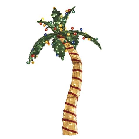 7ftlite palm tree at lowes shop living pre lit palm tree sculpture with constant clear white incandescent lights at
