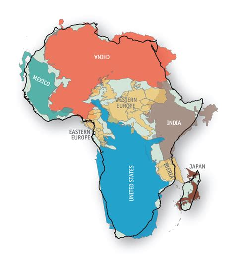 size of africa map bulging in the middle the economist