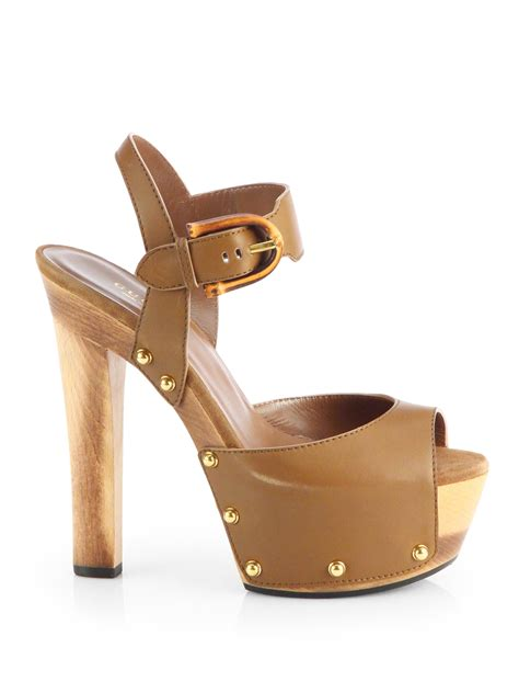 brown platform sandals gucci nadege leather wooden platform sandals in brown lyst