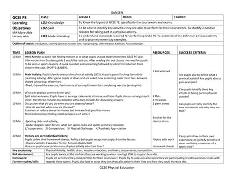 lesson plan template scotland resources for physical education and send teaching