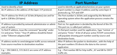 difference  ip address  port number ip