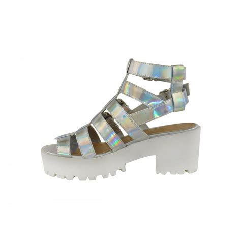 silver chunky heel sandals lexie silver hologram cut out chunky heel buckle