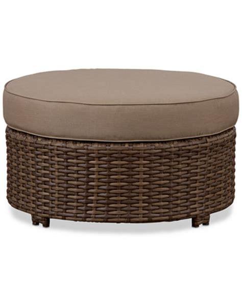 wicker round ottoman azua 34 quot outdoor wicker round ottoman furniture macy s