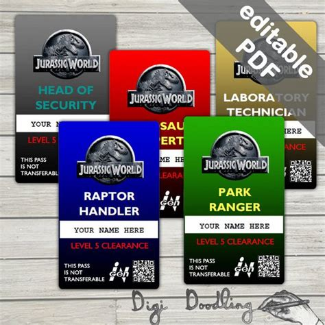 jurassic world id card template jurassic world costume jurassic world id badge editable