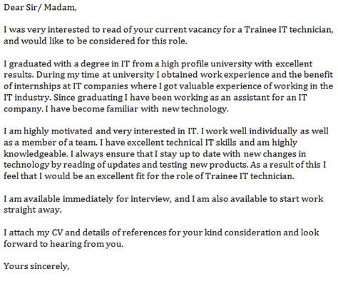 it technician cover letter exles trainee it technician cover letter exle forums