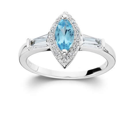 sterling silver blue topaz marquise ring