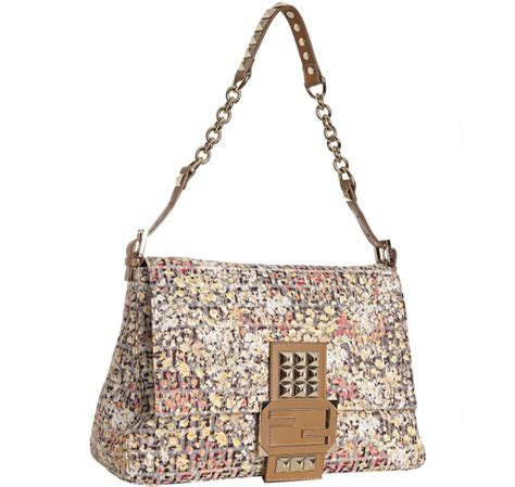 Fendi Mamma Shoulder Bag by Fendi Yellow Floral Print Canvas Zucchino Mamma Shoulder