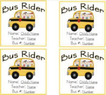 printable bus tags 11 best images about school on pinterest safety back to