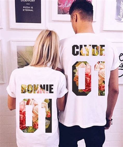 Customized Matching T Shirts For Couples T Shirts Set Quot Bonnie And Clyde Quot Set Of 2 T