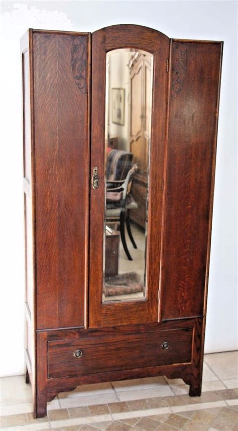 antique armoire wardrobe closet antique mission arts crafts solid oak beveled mirror