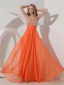 not expensive spaghetti straps orange chiffon beaded prom