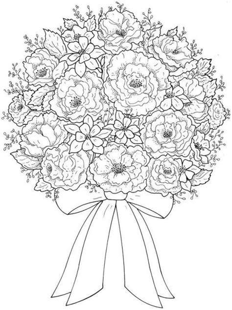 coloring pages of bouquet of flowers flower bouquet coloring pages coloring pages