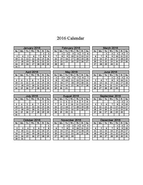 printable calendar grid 2016 calendar check list calendar template 2016