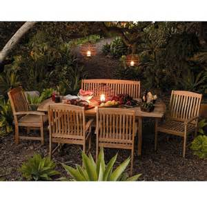 Wooden Patio Dining Sets Outdoor Patio Extendable Teak Wood Dining Set 6 Pc Table Bench Chair Furniture Ebay