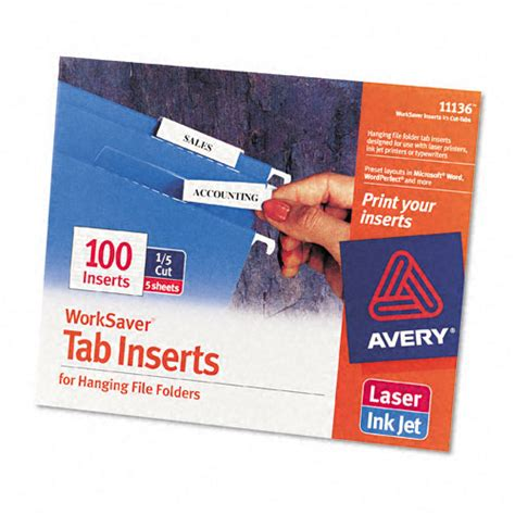 avery 174 printable inserts for hanging file folders 1 5 tab