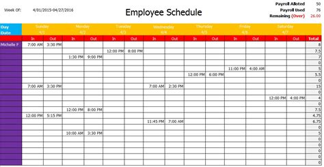 department schedule template microsoft excel work