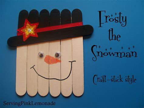 craft for with sticks serving pink lemonade snowmen craft stick style