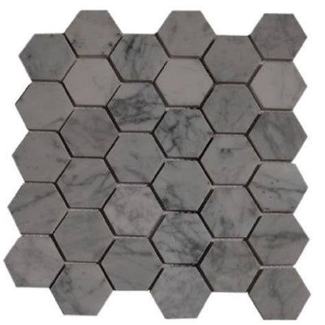 splashback tile hexagon white mesh mounted mosaic