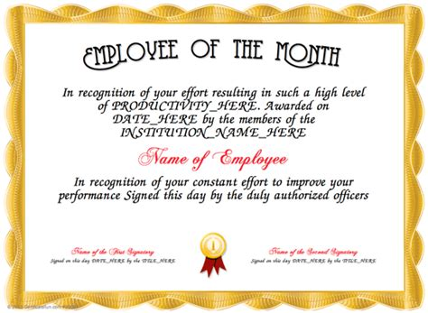 employee of the month certificate template word employee of the month here is our free certificate for
