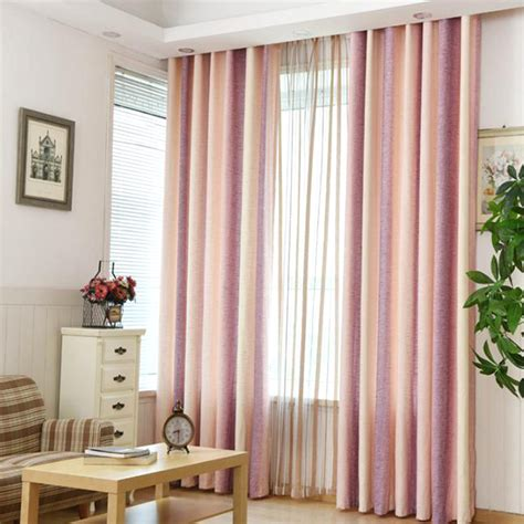 Pink Linen Curtains Pink Striped Jacquard Linen Cotton Blend Modern Curtains For Bedroom Or Living Room