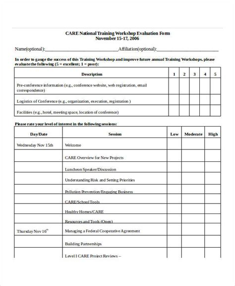 Training Evaluation Form Template Workshop Template Doc