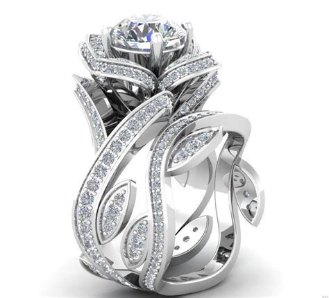 Engagement Sets by Museum 2 1tcw Russian Lab Floral Wedding Band Ring