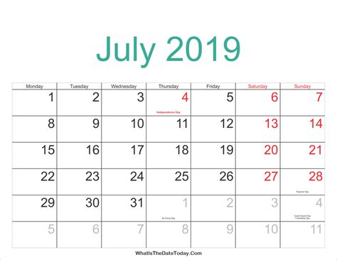Calendar 2019 Printable With Holidays July 2019 Calendar With Holidays 2018 Calendar Printable