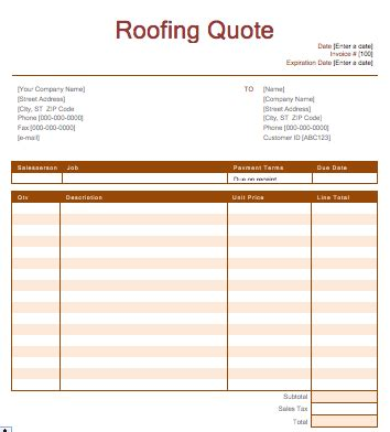 Roofing Template Roofing Quotation Template Quote Template