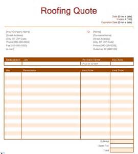 Roofing Estimate Template by Roofing Quotes Exles Quotesgram