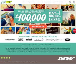 Win Money Competitions Australia - subway win 100 000 competitions australia