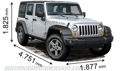 dimensions of jeep cars showing length, width and height