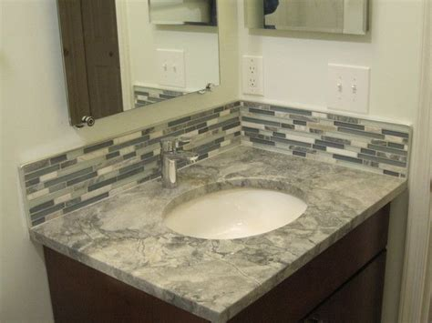 bathroom vanity tile backsplash ideas 4 quot backsplash behind vanity master bathroom ideas