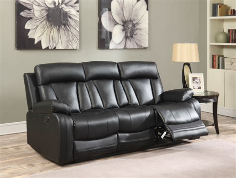 black leather reclining loveseat with console kyson modern black bonded leather reclining sofa