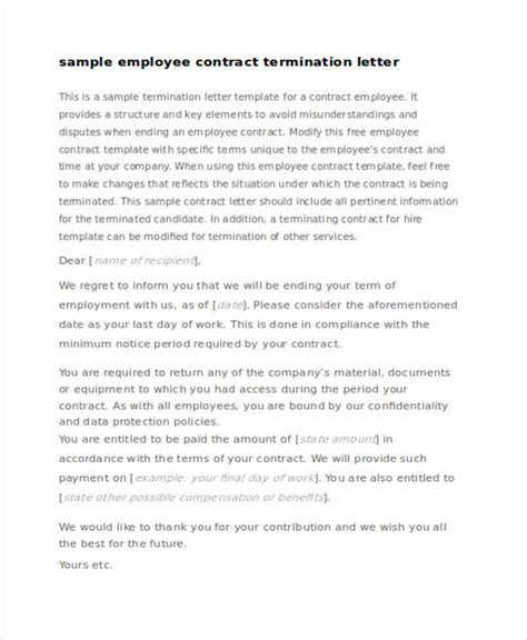 termination letter for contract employee 53 termination letter exles sles pdf doc