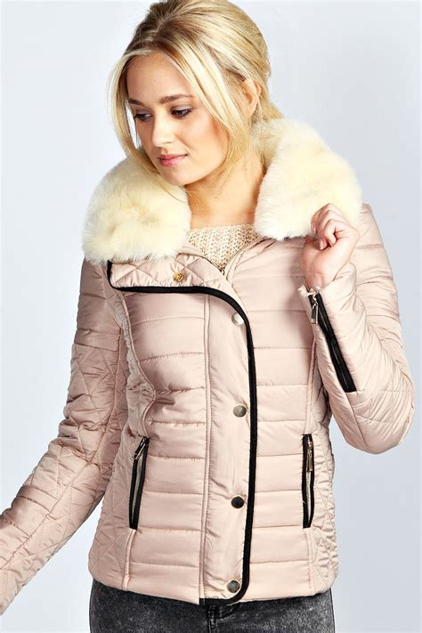 Faux Fur Collar Padded Jacket cara faux fur collar padded jacket beige beige