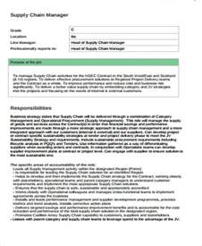 Description For Supply Chain Manager by Supply Chain Management Description Sle 7 Exles In Word Pdf