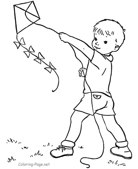 Kite Flying Coloring Pages   Coloring Home