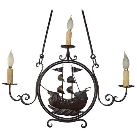 Boat Chandelier 1870 Italian Wrought Iron Nautical Ship Boat Chandelier For Sale At 1stdibs