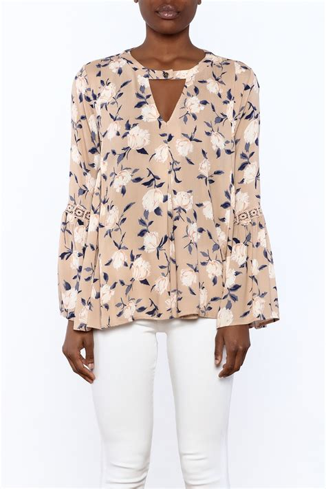 Bell Sleeve Floral Top 1 funky floral bell sleeve top from california by yuni