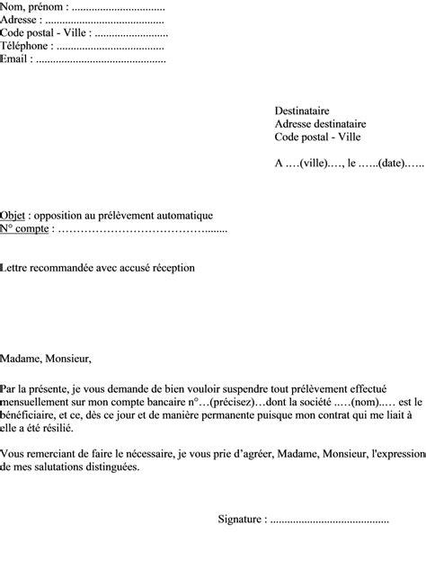Modèle De Lettre Virement Permanent Exemple Lettre Demande Opposition Pr 233 L 232 Vement Automatique Annulation Virement Permanent Pour