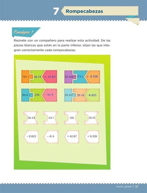 libro de matematicas de sexto grado contestado pagina 97 rompecabezas desaf 237 o 7 desaf 237 os matem 225 ticos sexto contestado tareas cicloescolar